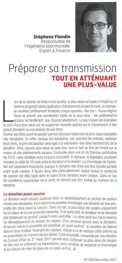 Acteurs de l'économie, La Tribune – Préparer sa transmission tout en aténuant une plus-value – 01/12/2017