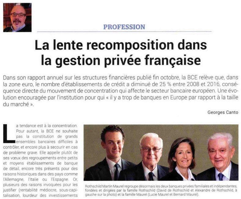 Gestion de Fortune - La lente recomposition dans la gestion privée française - 01/12/2017