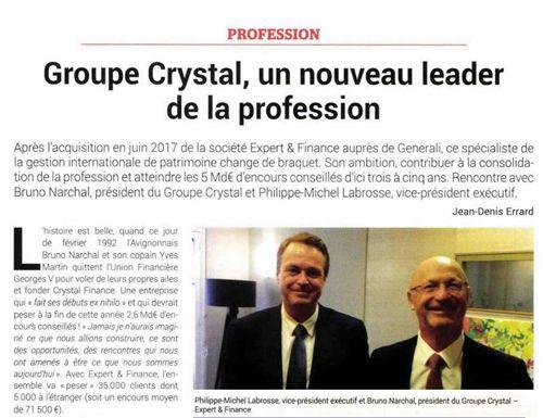 Gestion de Fortune - Groupe Crystal, un nouveau leader de la profession - 01/12/2017