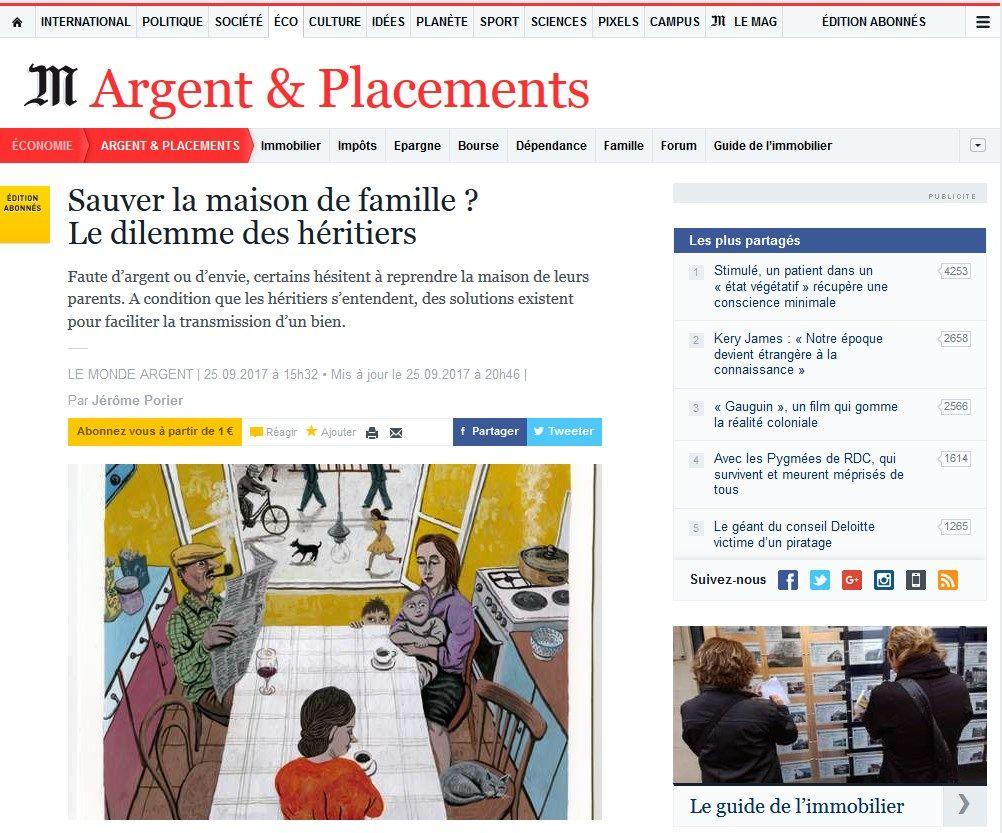Le Monde.fr - Sauver la maison de famille ? Le dilemme des héritiers - 25/09/2017