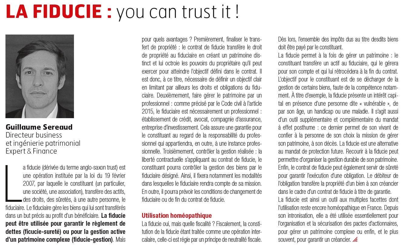 La fiducie : you can trust it !