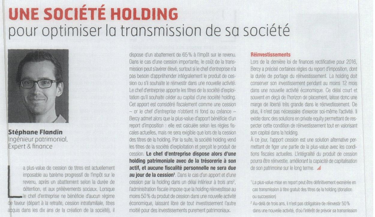 Artcile - Acteurs de l'économies, La Tribune : une societé holding pour optimiser la transmission de sa societe